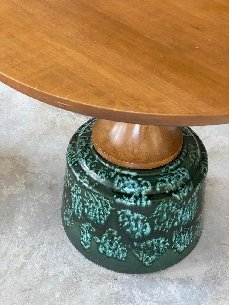 John Van Koert, Side Tables, Cherrywood, Glazed Ceramic, Drexel, America, 1956 For Sale 3