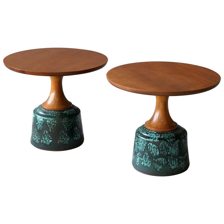 John Van Koert, Side Tables, Cherrywood, Glazed Ceramic, Drexel, America, 1956 For Sale