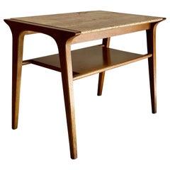 John Van Koert Walnut and Travertine Side Table for Drexel