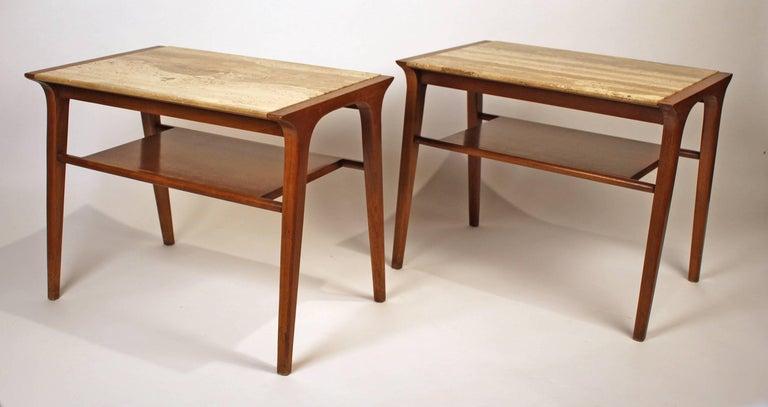Stylish pair of walnut and travertine side tables by John Van Koert for Drexel.