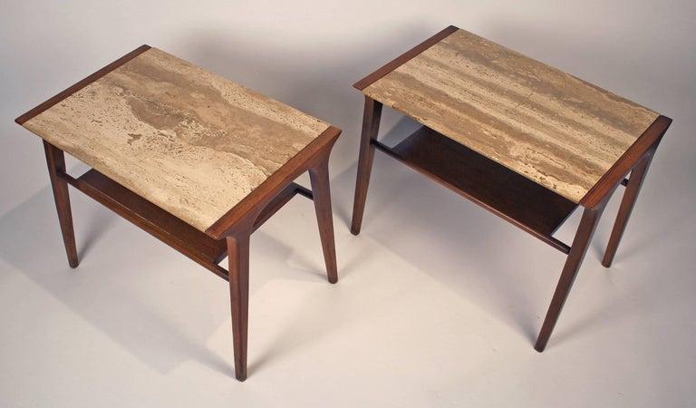 Mid-Century Modern John Van Koert Walnut and Travertine Side Tables for Drexel For Sale