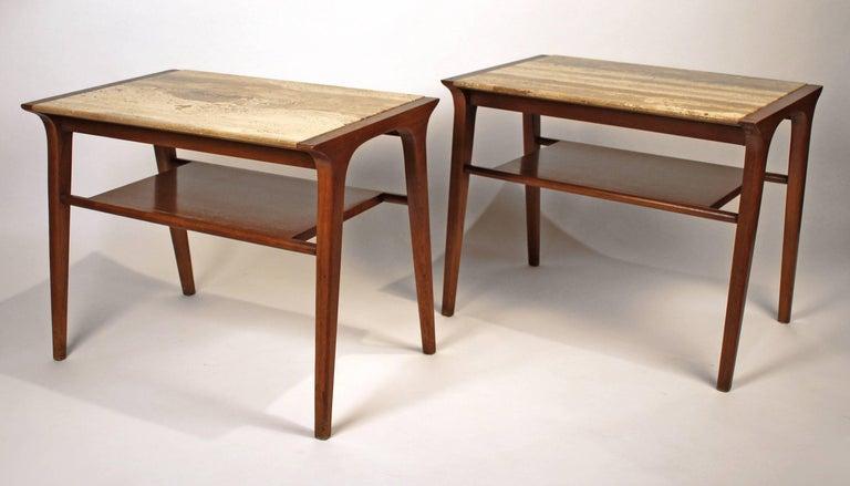 American John Van Koert Walnut and Travertine Side Tables for Drexel For Sale