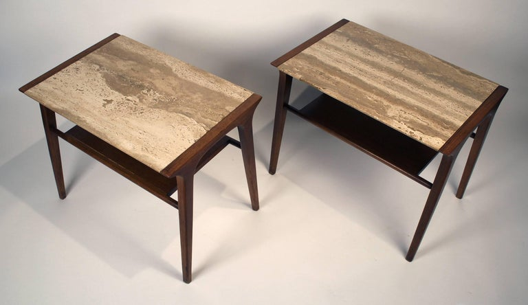John Van Koert Walnut and Travertine Side Tables for Drexel In Good Condition For Sale In Dallas, TX