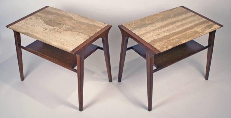20th Century John Van Koert Walnut and Travertine Side Tables for Drexel For Sale