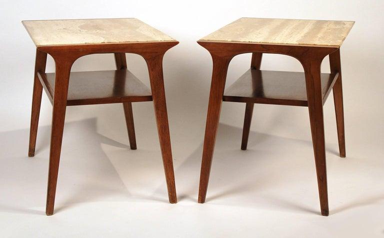 John Van Koert Walnut and Travertine Side Tables for Drexel For Sale 1