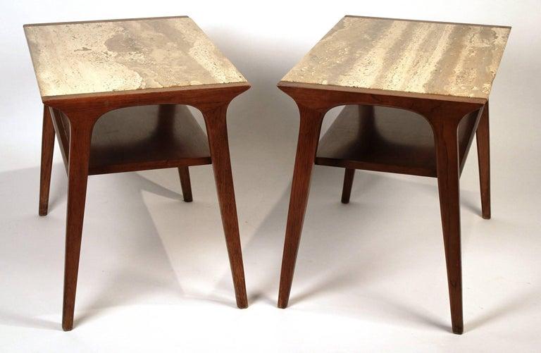 John Van Koert Walnut and Travertine Side Tables for Drexel For Sale 2
