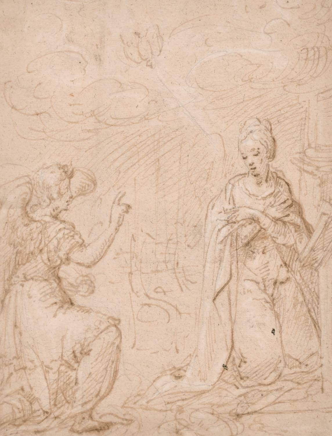 FINE EARLY 1700's OLD MASTER WASH DRAWING - GABRIEL APPEARING TO THE VIRGIN MARY