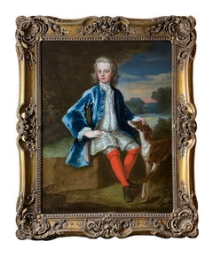 18th Century English Portrait of a Gentleman in a Blue Coat with his Dog