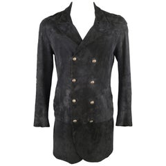 JOHN VARVATOS 40 Black Suede Double Breasted Long Coat
