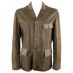 JOHN VARVATOS 44 Brown Distressed Leather Military Style Jacket