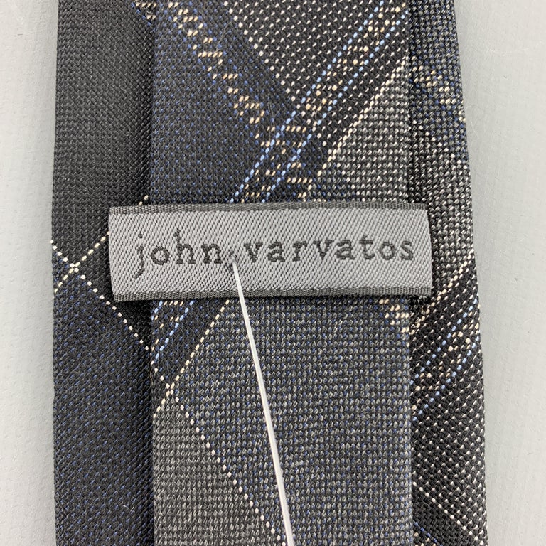 Men's JOHN VARVATOS Black & Grey Plaid Silk Skiny Tie For Sale