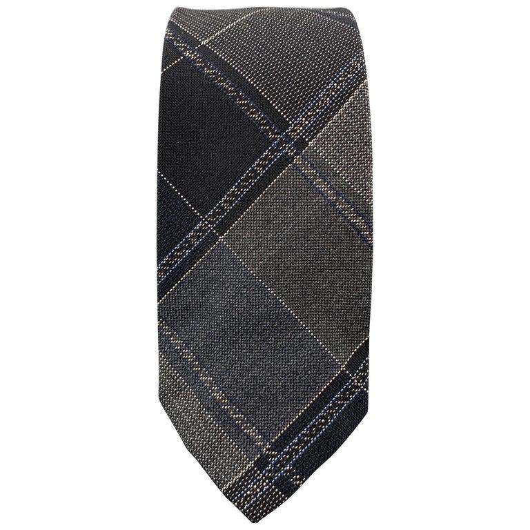 JOHN VARVATOS Black & Grey Plaid Silk Skiny Tie For Sale