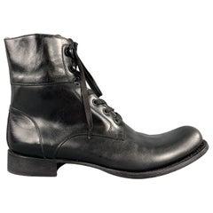 JOHN VARVATOS Size 12 Black Leather Lace Up Convert Boots