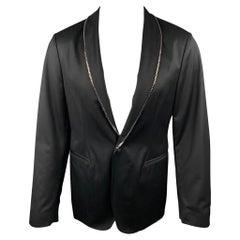 JOHN VARVATOS Size 38 Black Wool Chain Trim Shawl Collar Sport Coat
