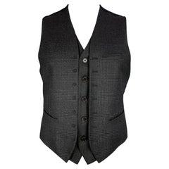 JOHN VARVATOS Size 42 Grey & Black Plaid Wool Double Layer Vest