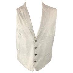 JOHN VARVATOS Size 44 White & Grey Pinstripe Cotton Buttoned Vest