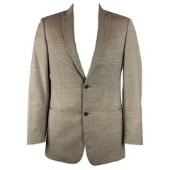 JOHN VARVATOS Size 48 Brown & White Houndstooth Virgin Wool Sport Coat