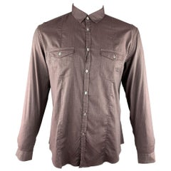 JOHN VARVATOS Size L Brown Solid Cotton Button Up Long Sleeve Shirt