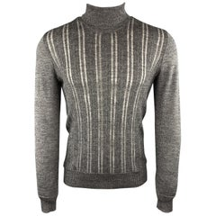 JOHN VARVATOS Size S Ribbed Gray Wool Blend Burnout Stripe Turtleneck Sweater