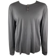 JOHN VARVATOS Size XXL Charcoal Solid Cotton / Wool Henley Henley Shirt