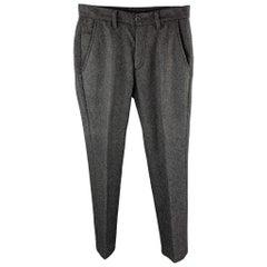 JOHN VARVATOS U.S.A. Size 30 Charcoal Herringbone Pleated Pants