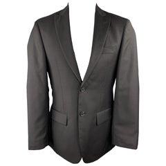 JOHN VARVATOS U.S.A. Size 36 Black Wool Peak Lapel Sport Coat