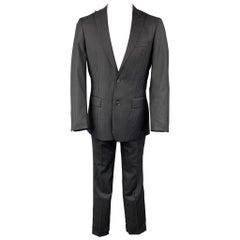 JOHN VARVATOS * U.S.A. Size 38 Regular Black Stripe Wool Peak Lapel Suit