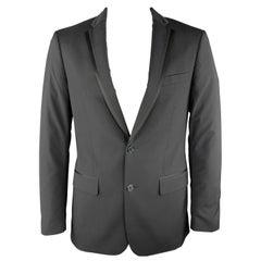 JOHN VARVATOS * U.S.A. Size 40 Black Solid Regular Wool Sport Coat