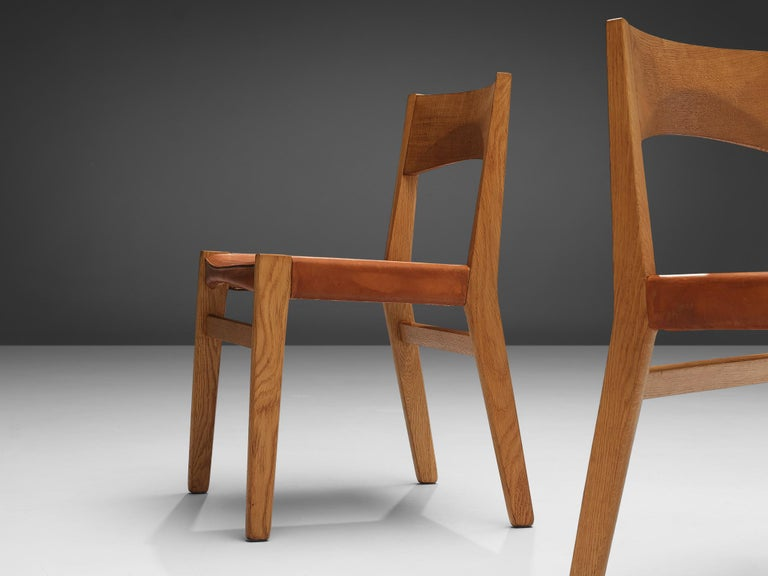 JohnVedel-Rieper Set of 12 Dining Chairs in Oak and Leather For Sale 7