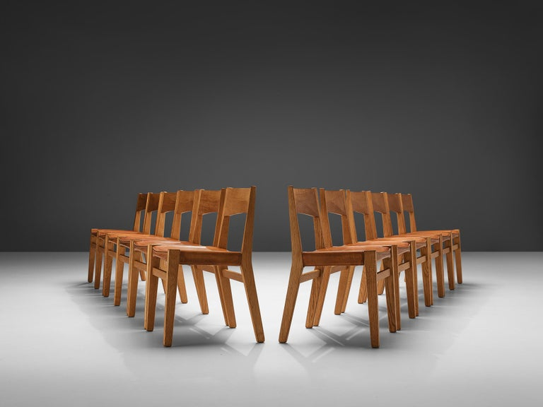 Danish JohnVedel-Rieper Set of 12 Dining Chairs in Oak and Leather For Sale