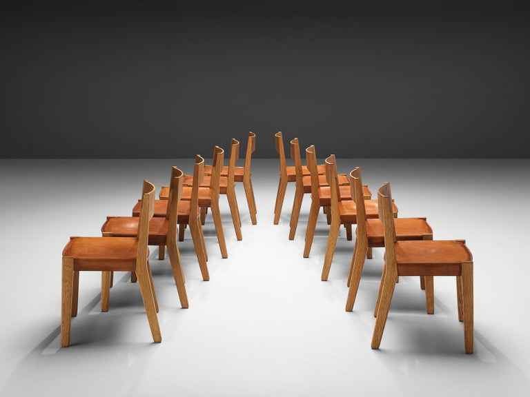 JohnVedel-Rieper Set of 12 Dining Chairs in Oak and Leather In Good Condition For Sale In Waalwijk, NL