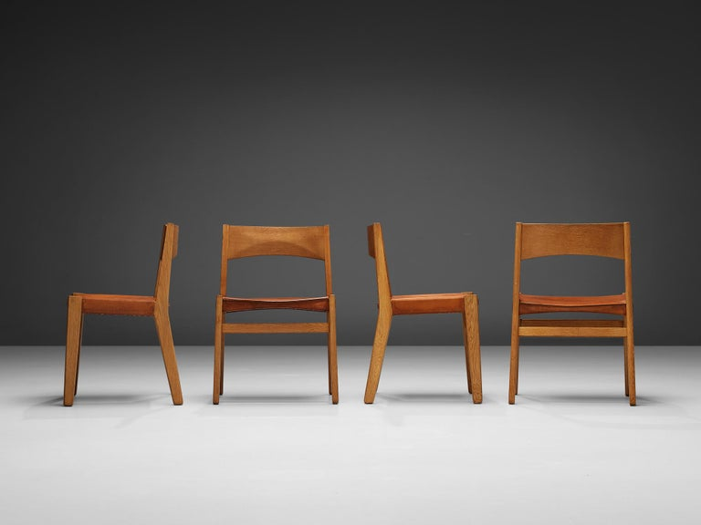 Mid-20th Century JohnVedel-Rieper Set of 12 Dining Chairs in Oak and Leather For Sale