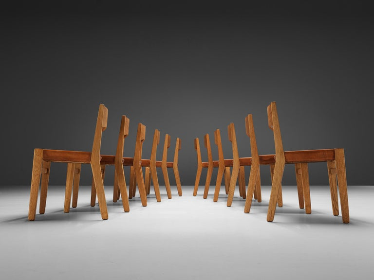 JohnVedel-Rieper Set of 12 Dining Chairs in Oak and Leather For Sale 2