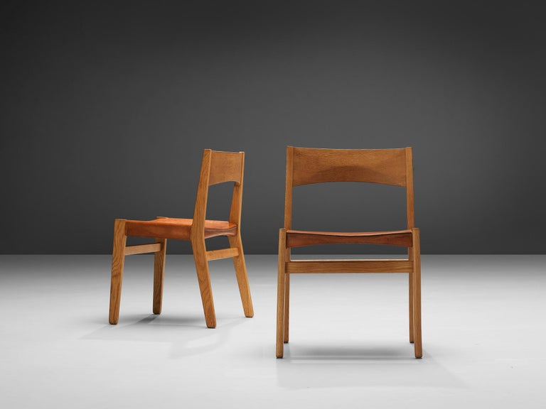 JohnVedel-Rieper Set of 12 Dining Chairs in Oak and Leather For Sale 3