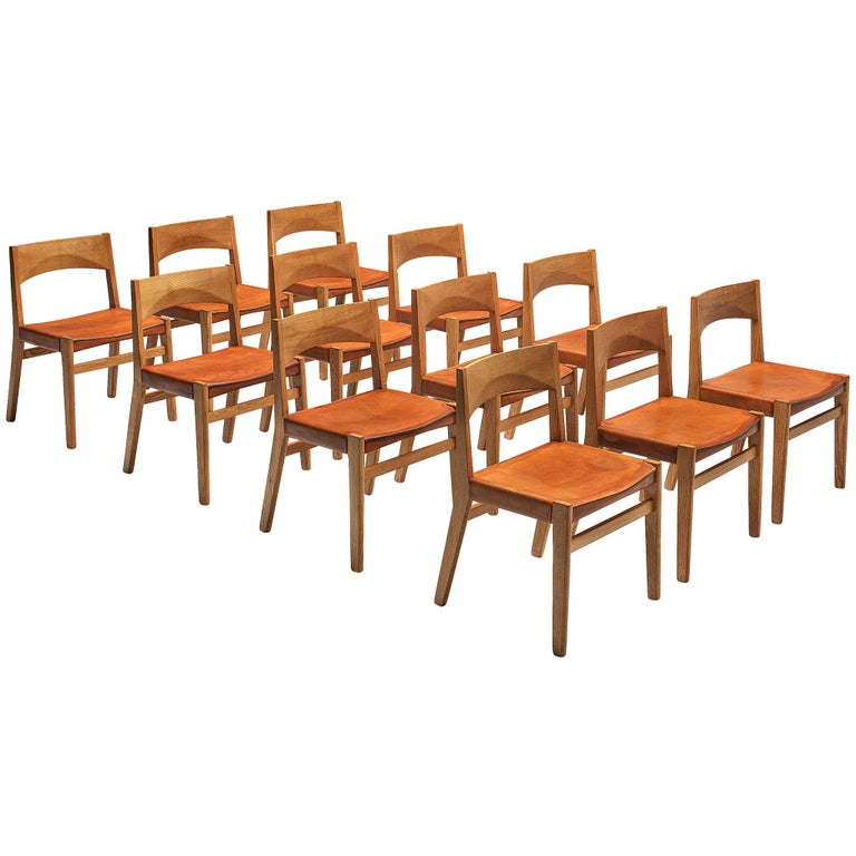 JohnVedel-Rieper Set of 12 Dining Chairs in Oak and Leather For Sale