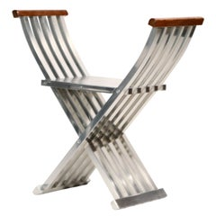 John Vesey Aluminum and Walnut Folding Directoire Bench, circa 1958