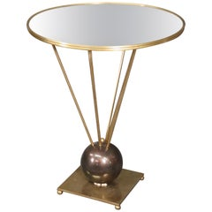 John Vesey Attributed Solid Brass Glass Geuridon End Table, circa 1960