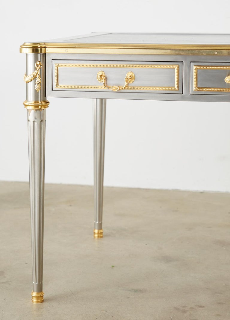 John Vesey Stainless Steel Bronze Neoclassical Desk For Sale 4