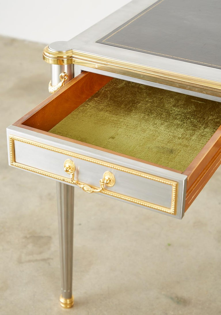 John Vesey Stainless Steel Bronze Neoclassical Desk For Sale 5