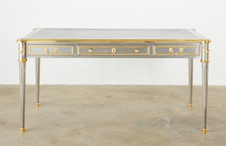 John Vesey Stainless Steel Bronze Neoclassical Desk For Sale 6