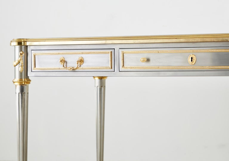 John Vesey Stainless Steel Bronze Neoclassical Desk For Sale 7