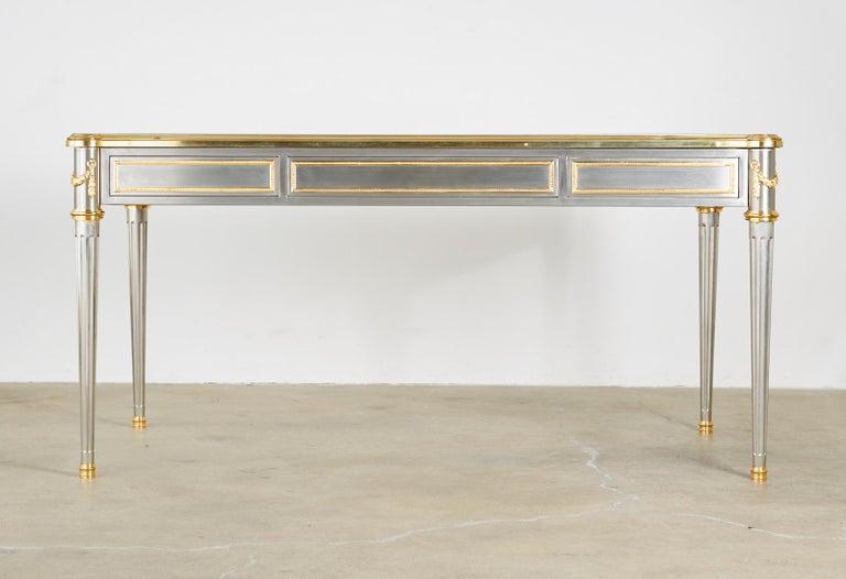 John Vesey Stainless Steel Bronze Neoclassical Desk For Sale 13