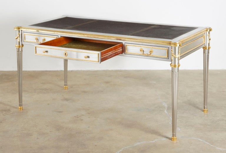Hand-Crafted John Vesey Stainless Steel Bronze Neoclassical Desk For Sale