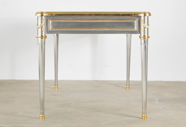 John Vesey Stainless Steel Bronze Neoclassical Desk In Good Condition For Sale In Oakland, CA