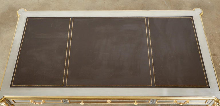 20th Century John Vesey Stainless Steel Bronze Neoclassical Desk For Sale
