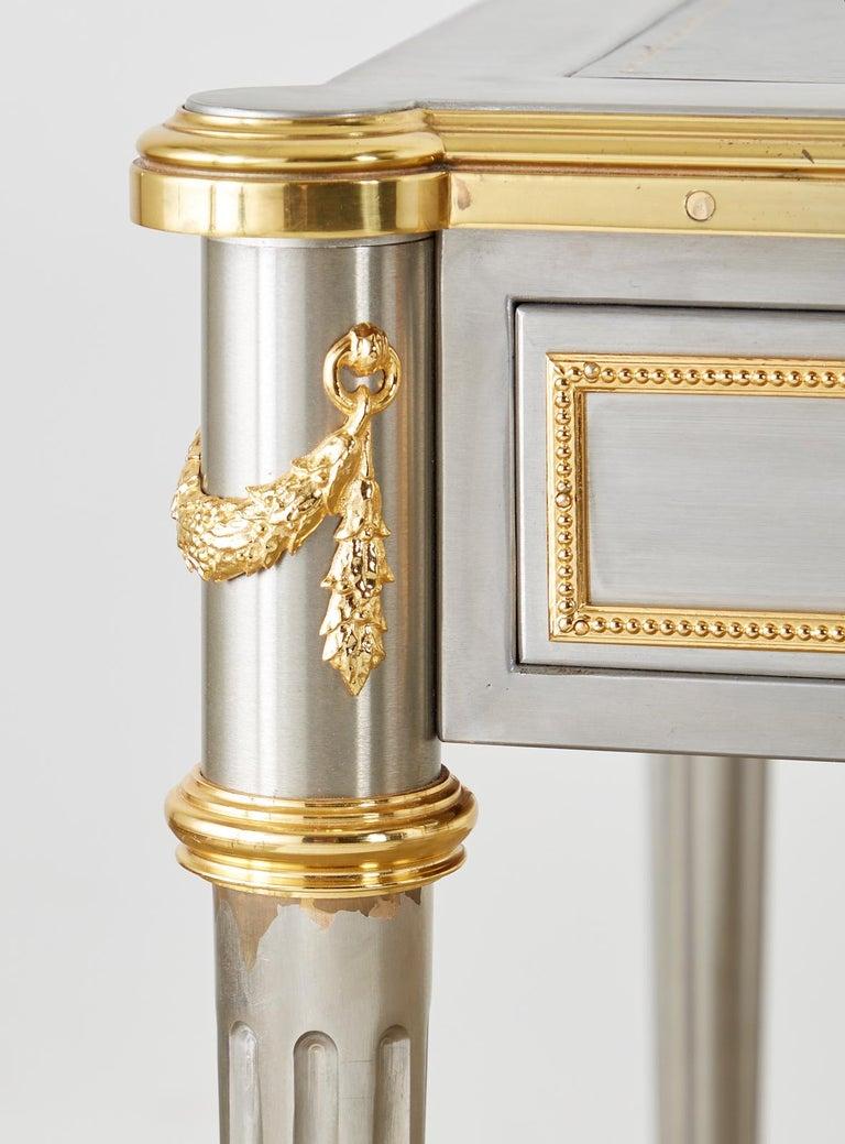 John Vesey Stainless Steel Bronze Neoclassical Desk For Sale 2