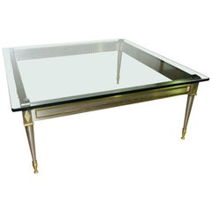 Square Steel Brass French Directoire Style Coffee Table Attributed John Vesey