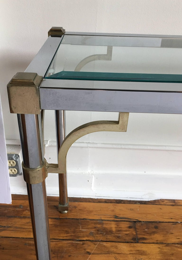 Late 20th Century John Vesey Style Mid-Century Modern Brass Chrome & Glass Console Table, 1970s For Sale