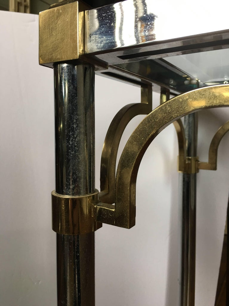 John Vesey Style Mid-Century Modern Brass Chrome & Glass Console Table, 1970s For Sale 1