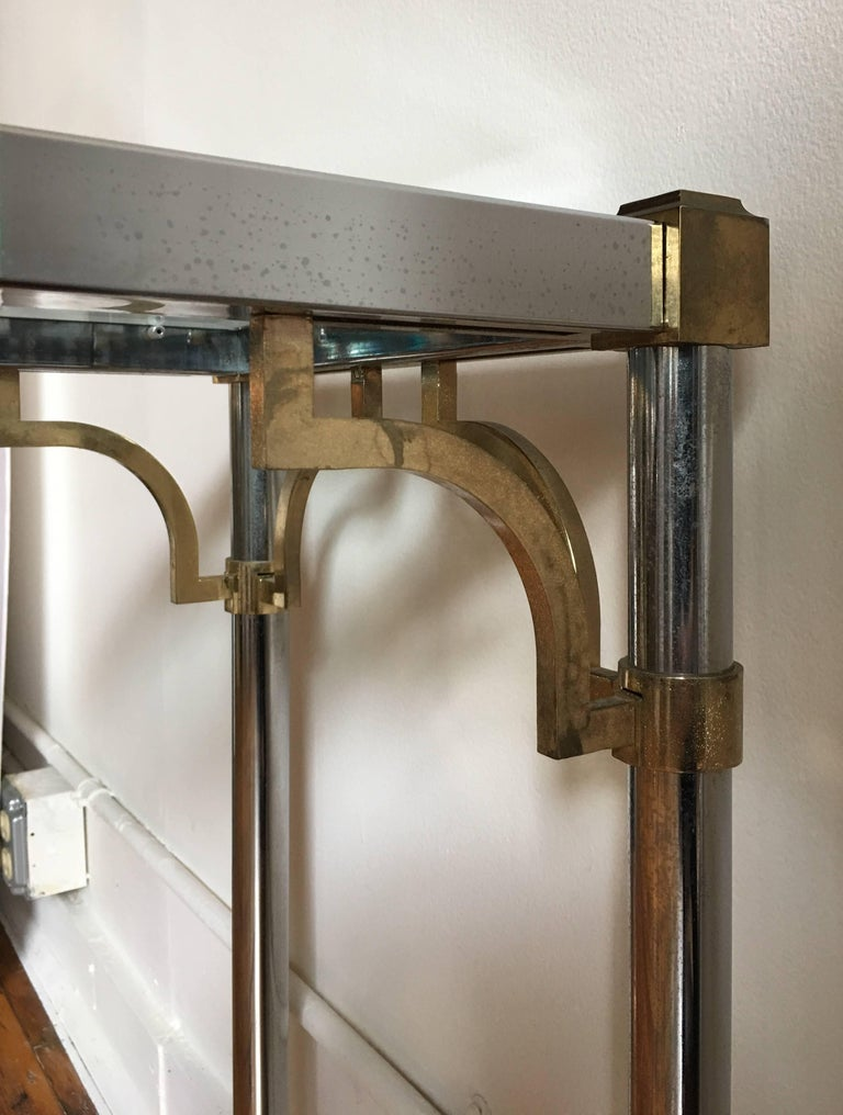 John Vesey Style Mid-Century Modern Brass Chrome & Glass Console Table, 1970s For Sale 2